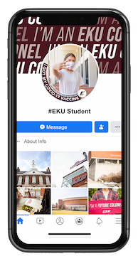 Example of EKU Vaccinated Facebook frame on iPhone